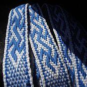 """Русский стиль ручной работы. Ярмарка Мастеров - ручная работа Пояс """"Инглия """" бело-синий. Handmade."""