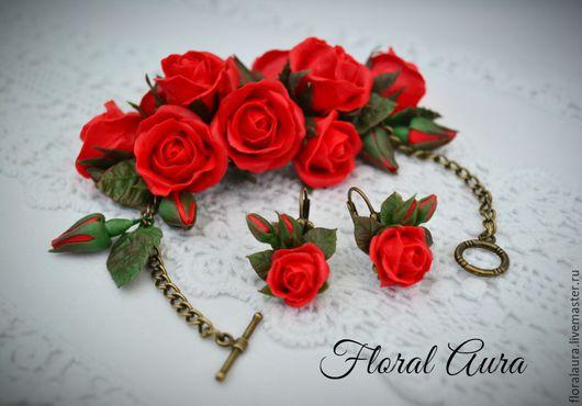 Браслеты ручной работы. Ярмарка Мастеров - ручная работа. Купить Браслет с алыми розами. Handmade. Ярко-красный, алые розы