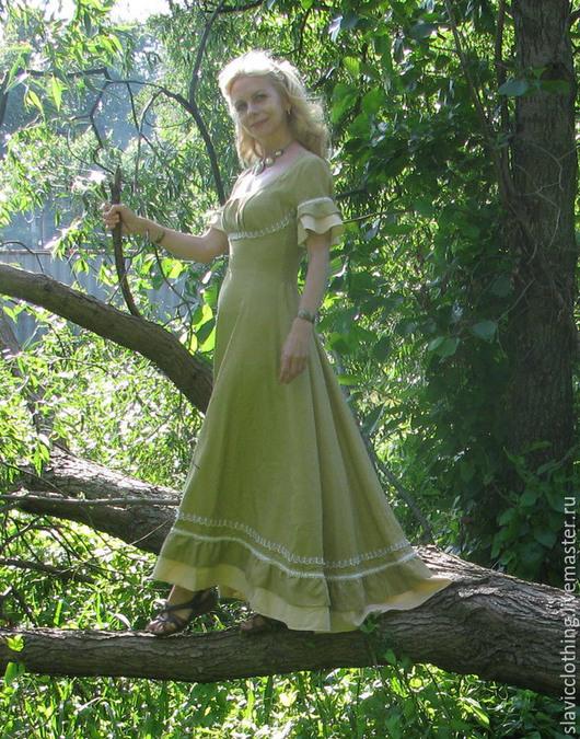 """Платья ручной работы. Ярмарка Мастеров - ручная работа. Купить эльфийское фэнтази платье""""Дриада"""". Handmade. Эльфийское платье, льняное платье"""