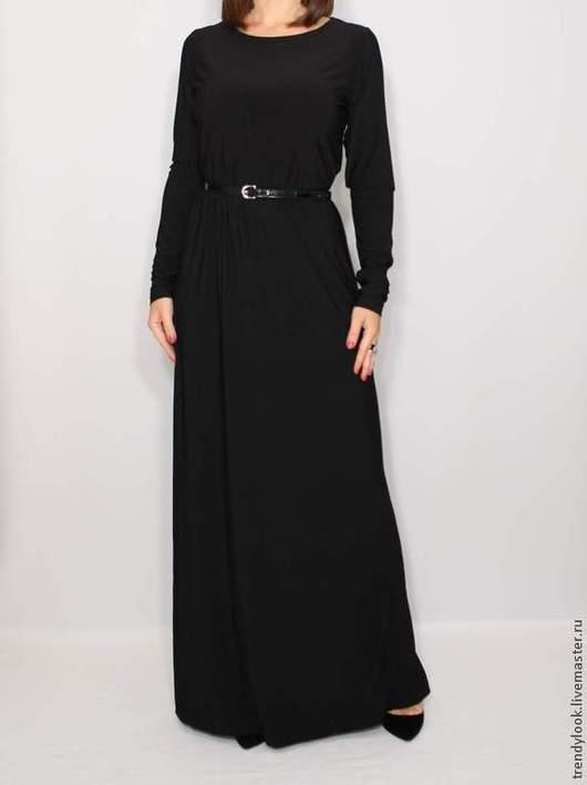 Платья ручной работы. Ярмарка Мастеров - ручная работа. Купить Платье в пол с длинным рукавом Черное длинное платье. Handmade.