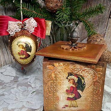 """Сувениры и подарки ручной работы. Ярмарка Мастеров - ручная работа Короб новогодний и шар """"Дети с подарками"""" декупаж. Handmade."""