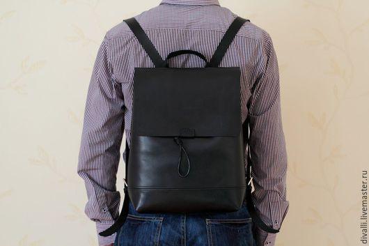 Рюкзаки ручной работы. Ярмарка Мастеров - ручная работа. Купить Кожаный рюкзак Divalli B0021. Handmade. Черный, рюкзак кожаный