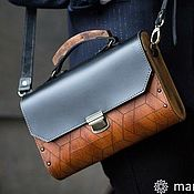 Сумки и аксессуары handmade. Livemaster - original item Black leather Geometry Bag with wood. Handmade.