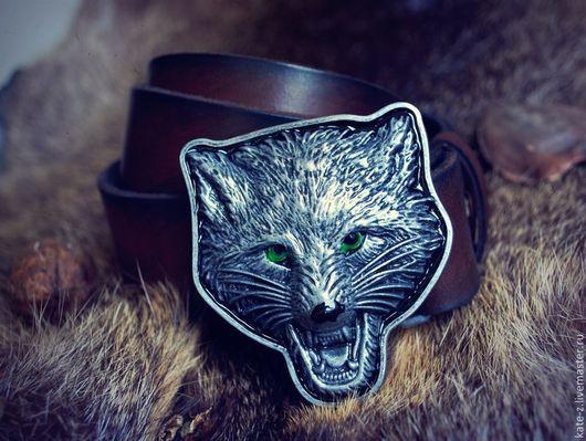 Пояса, ремни ручной работы. Ярмарка Мастеров - ручная работа. Купить Пояс из натуральной кожи Волк. Handmade. Коричневый