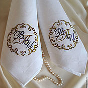 Для дома и интерьера ручной работы. Ярмарка Мастеров - ручная работа Cалфетки с вышивкой 4209 Свадебный вензель. Handmade.