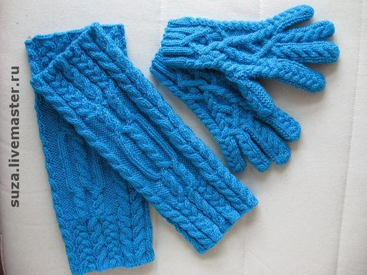 """Варежки, митенки, перчатки ручной работы. Ярмарка Мастеров - ручная работа. Купить Комплект перчатки и гетры """"Синий туман"""". Handmade."""