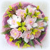 Косметика ручной работы. Ярмарка Мастеров - ручная работа Орхидеи и пионы композиция из 9 мыльных цветов. Handmade.