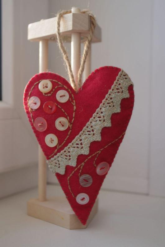 Подарки для влюбленных ручной работы. Ярмарка Мастеров - ручная работа. Купить Валентинка. Handmade. Коралловый, фетр, фетр, нитки