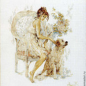 Картины и панно ручной работы. Ярмарка Мастеров - ручная работа вышитая картина Девушка с собакой. Handmade.