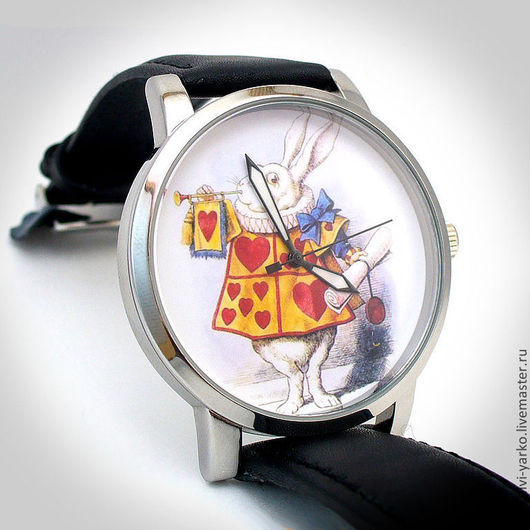 """Оригинальные дизайнерские наручные часы ручной работы """"Алису приглашаем на бал!""""."""