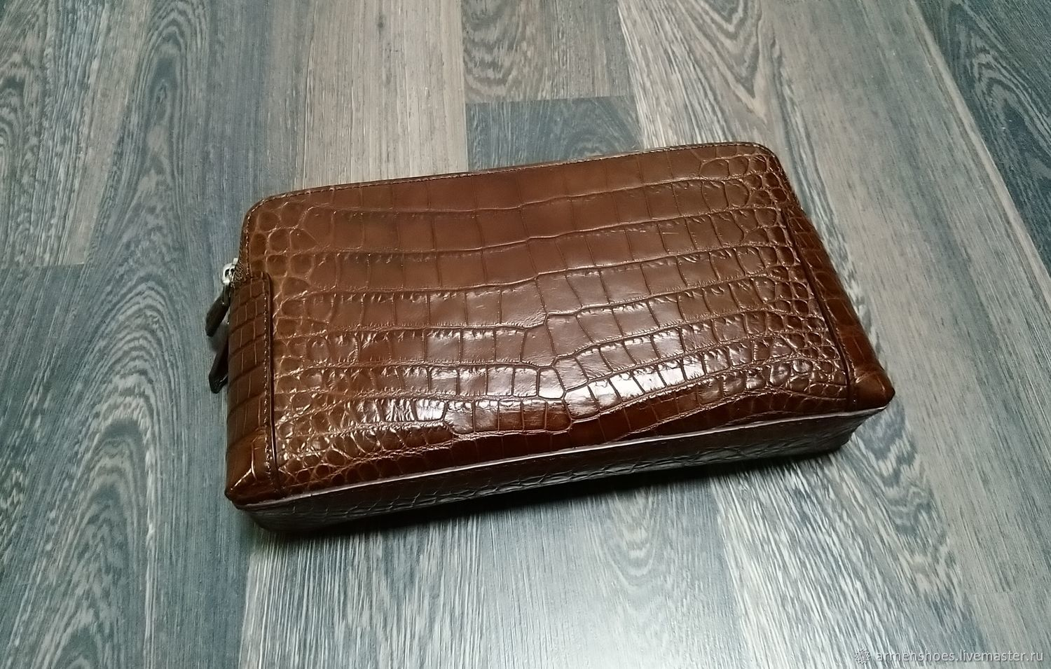 Clutch bag made of genuine crocodile leather, in brown color, Clutches, Tosno,  Фото №1