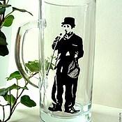 Посуда ручной работы. Ярмарка Мастеров - ручная работа Чарли Чаплин пивная кружка. Handmade.