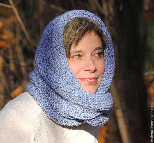 """Шарфы и шарфики ручной работы. Ярмарка Мастеров - ручная работа. Купить Снуд-шарф голубой меланжевый """"Конфетти"""" (полушерсть). Handmade."""