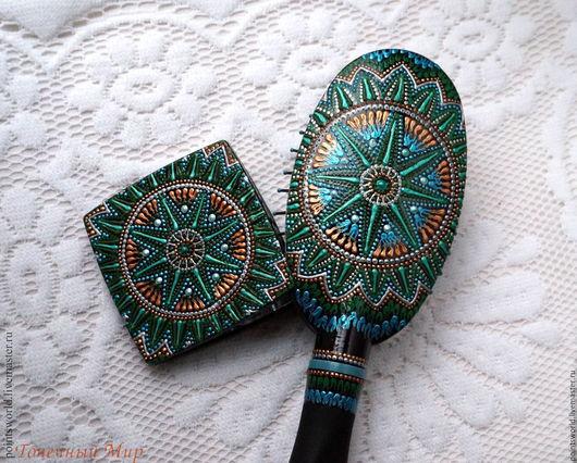 Комплект в подарок, подарочный комплект, комплект точечная роспись. комплект роспись, расческа и зеркальце, расческа с зеркалом, зеркало и расческа, массажная расческа и зеркальце, зеленый, малахит