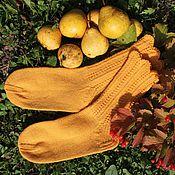 Аксессуары handmade. Livemaster - original item Women`s wool blend knitted socks. SAFFRON. Handmade.