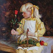 Картины и панно ручной работы. Ярмарка Мастеров - ручная работа Девочка в желтом платье. Handmade.