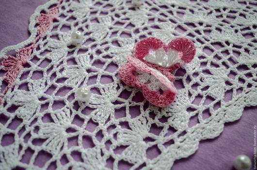 Шапки и шарфы ручной работы. Ярмарка Мастеров - ручная работа. Купить Косыночка для девочки крючком с бабочкой с розовой отделкой. Handmade.