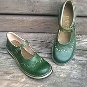 Обувь ручной работы. Ярмарка Мастеров - ручная работа Кожаные туфли Куда уходит детство...зеленые. Handmade.