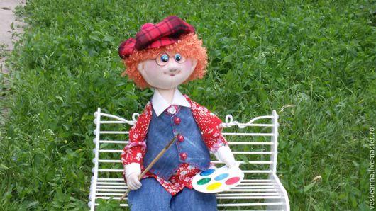 Коллекционные куклы ручной работы. Ярмарка Мастеров - ручная работа. Купить Текстильная кукла Кеша -юный художник.. Handmade. Рыжий