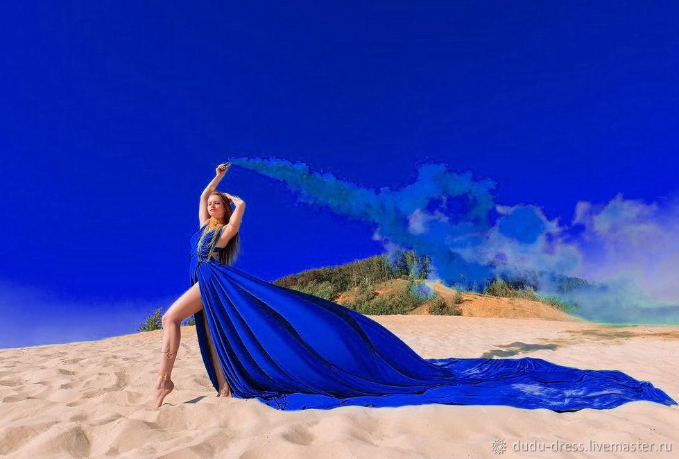 Платья ручной работы. Ярмарка Мастеров - ручная работа. Купить Платье-трансформер Синий Электрик со шлейфом 3 метра. Handmade.