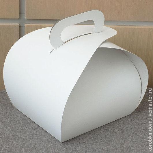 """Упаковка ручной работы. Ярмарка Мастеров - ручная работа. Купить Коробка 18х10х15 с ручкой """"булка"""" белая. Handmade. Коробочка"""