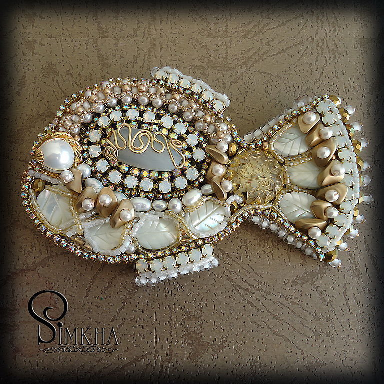 Large brooch 'Fish of St. Peter' white, Brooches, Netanya,  Фото №1