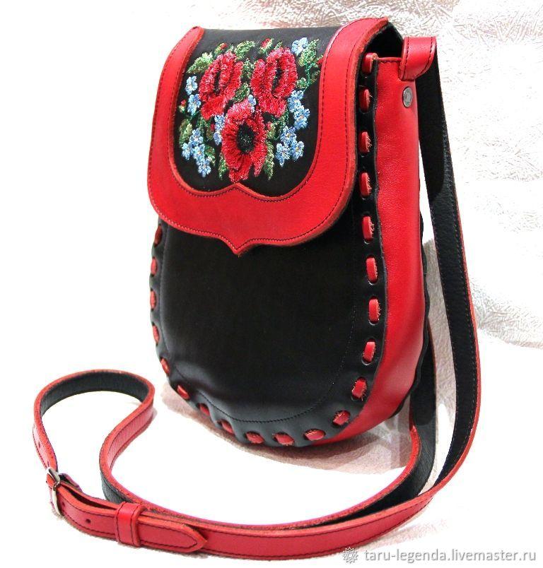 Женские сумки ручной работы. Ярмарка Мастеров - ручная работа. Купить Сумка кожаная Лемби с вышивкой - красная. Handmade.
