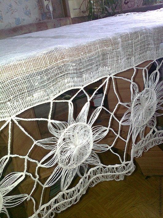 """Текстиль, ковры ручной работы. Ярмарка Мастеров - ручная работа. Купить """"СОЛНЫШКО"""" скатерть льняная. Handmade. Белый, Вязание крючком"""