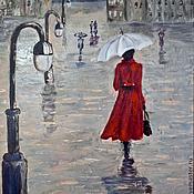 Картины и панно ручной работы. Ярмарка Мастеров - ручная работа Девушка,город, дождь. Handmade.
