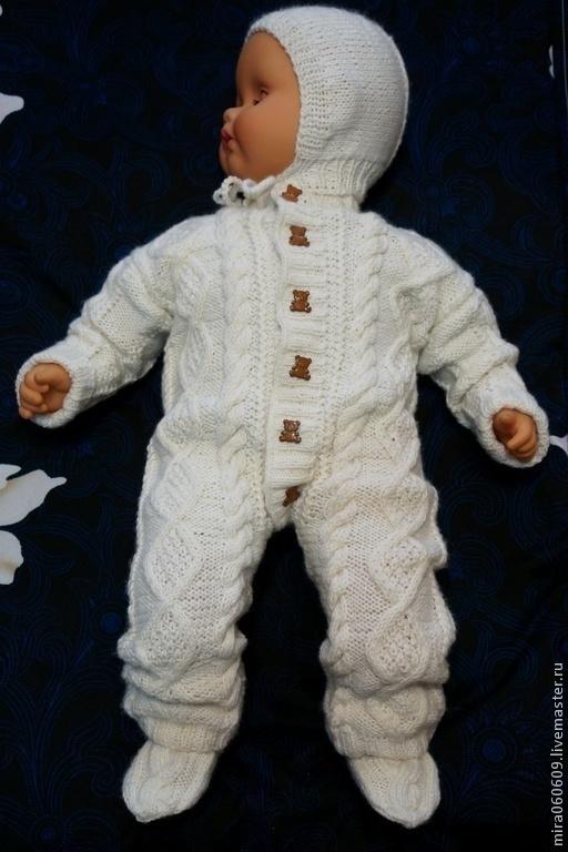 Одежда для мальчиков, ручной работы. Ярмарка Мастеров - ручная работа. Купить Комплект (чепчик, комбинезон, носочки). Handmade. Белый