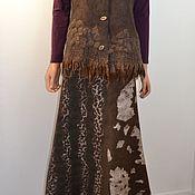 Одежда handmade. Livemaster - original item Brown Felted long skirt. Handmade.