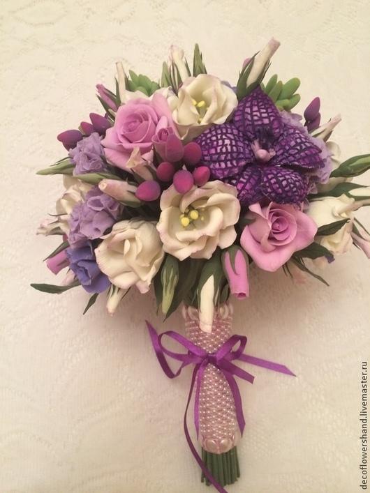 Свадебные цветы ручной работы. Ярмарка Мастеров - ручная работа. Купить Букет невесты. Handmade. Свадьба, фиолетовая свадьба