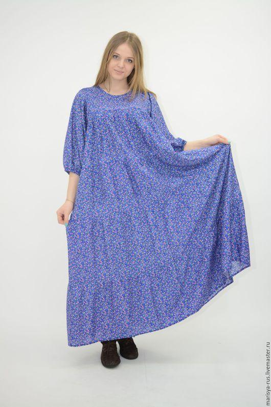 """Одежда ручной работы. Ярмарка Мастеров - ручная работа. Купить Платье """"Деревенька"""" голубое. Handmade. Голубой, штапель с цветами"""