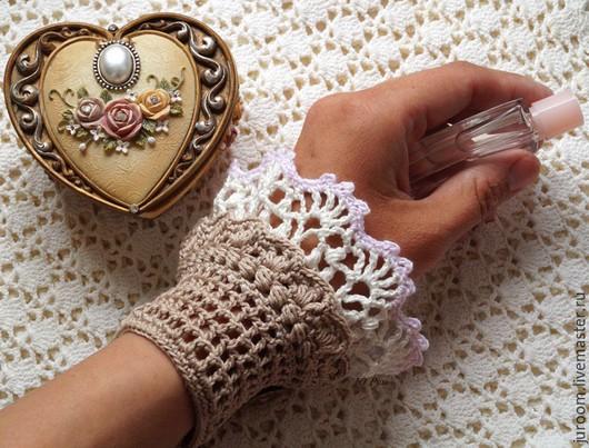 Варежки, митенки, перчатки ручной работы. Ярмарка Мастеров - ручная работа. Купить Манжеты-браслеты-митенки ажурные в бохо стиле Карамель. Handmade.