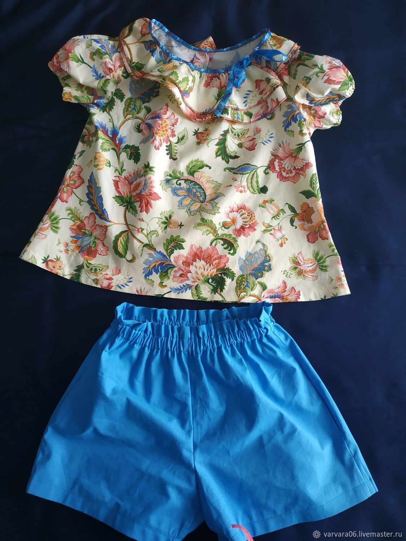 Летний костюм для девочки (блузка + шорты)
