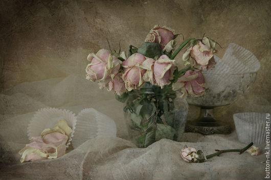 Фотокартины ручной работы. Ярмарка Мастеров - ручная работа. Купить Натюрморт Уснувшие розы. Handmade. Бледно-розовый, гербарий, розы