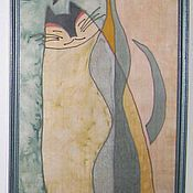 """Картины и панно ручной работы. Ярмарка Мастеров - ручная работа Панно """"Кот грустный"""". Handmade."""