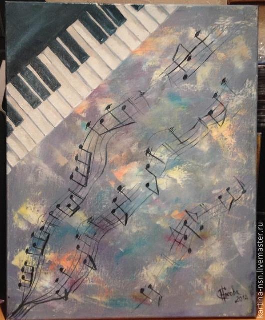 """Абстракция ручной работы. Ярмарка Мастеров - ручная работа. Купить """"Music Flows in You""""  - картина маслом. Handmade. ноты"""
