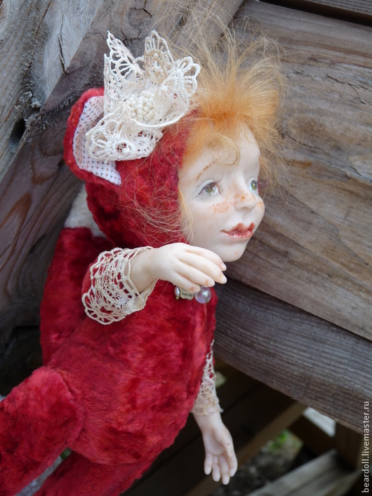 Коллекционные куклы ручной работы. Ярмарка Мастеров - ручная работа. Купить Лисонька ЛИЗА, тедди-долл. Handmade. Ярко-красный