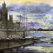Картины и панно ручной работы. Ярмарка Мастеров - ручная работа Закат над Москвой-рекой. Handmade.