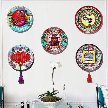 """Посуда ручной работы. Ярмарка Мастеров - ручная работа """"Китай"""" набор тарелок на стену - ручная роспись. Handmade."""