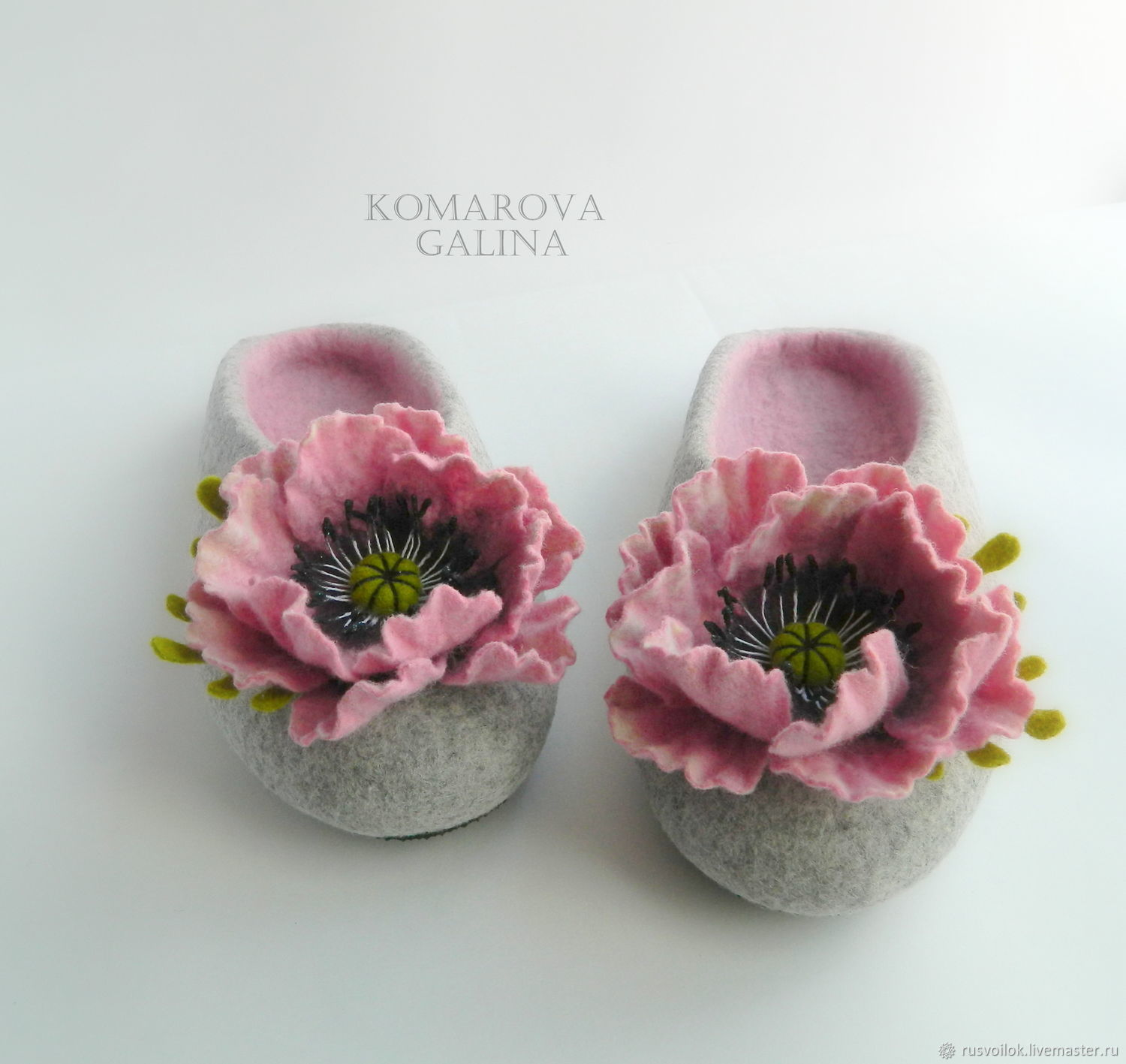 Women's felted Slippers' poppy pink', Slippers, Moscow,  Фото №1