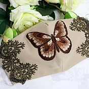 Аксессуары handmade. Livemaster - original item Face mask with embroidery butterfly brown Pink butterfly. Handmade.