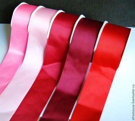 лента `Атласная гладкая` 50мм, красно-розовая гамма