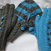 Аксессуары handmade. Livemaster - original item Mittens for lovers of Gray-turquoise your booking. Handmade.