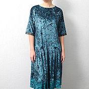 Одежда handmade. Livemaster - original item Dress velvet turquoise a line MIDI. Handmade.