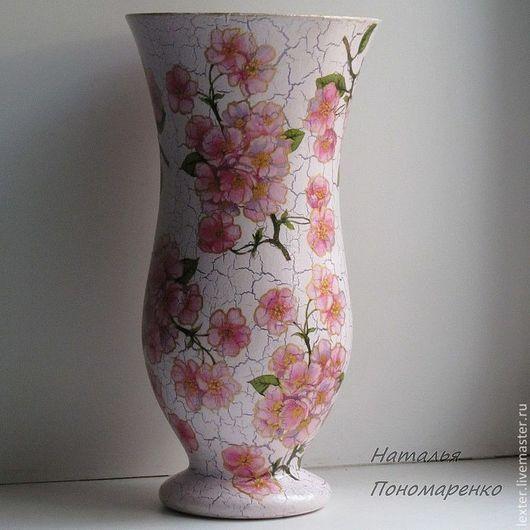Вазы ручной работы. Ярмарка Мастеров - ручная работа. Купить Вазы ручной работы. Стеклянная ваза Яблони цветут. Handmade.