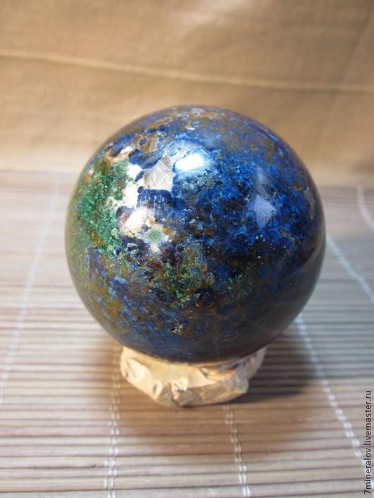 """Персональные подарки ручной работы. Ярмарка Мастеров - ручная работа. Купить 60мм. Шар хризоколла """"Синий - Малахит"""" Природный камень. Handmade."""