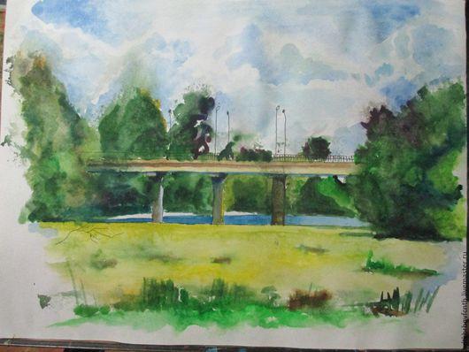 Пейзаж ручной работы. Ярмарка Мастеров - ручная работа. Купить Мост через Аркарку летом. Handmade. Комбинированный, пейзаж акварелью