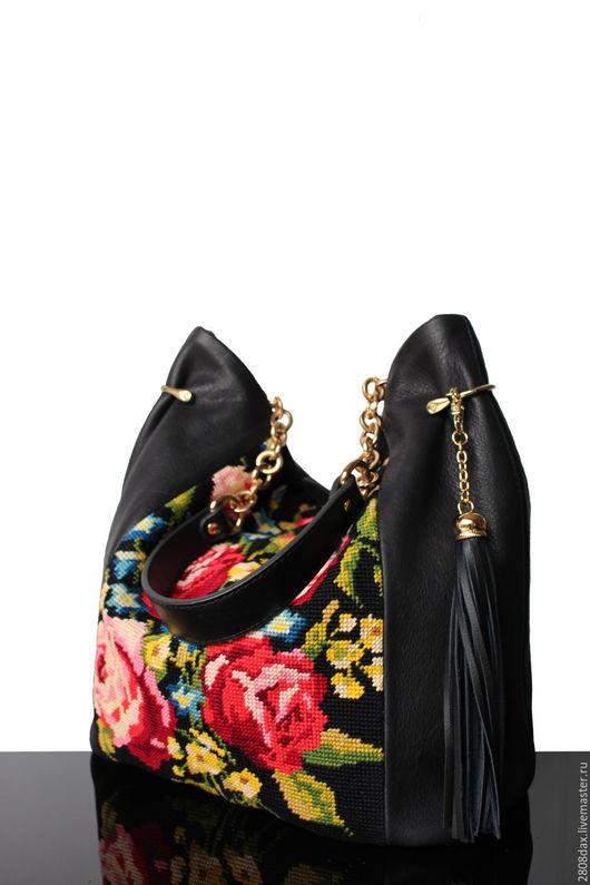 """Женские сумки ручной работы. Ярмарка Мастеров - ручная работа. Купить """"Vintage Rose"""" Кожаная черная сумка с вышивкой, Розы, сумка кожа. Handmade."""